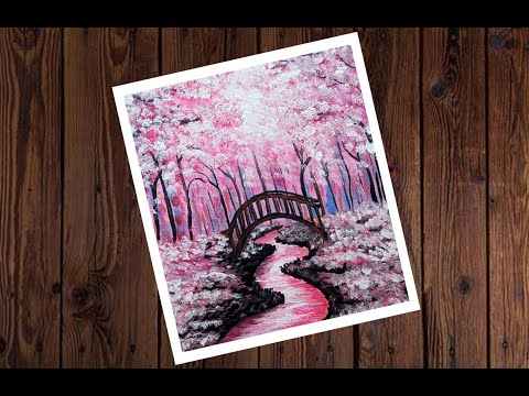 Pink Park | Easy Painting for beginners| Landscape Acrylic Painting on Canvas step by step #17
