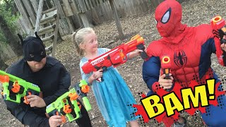 Kid Heroes 15 - The Cop Car, The Nerf Battle,  and Elsa