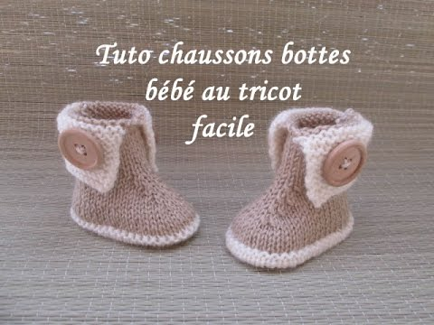 Favorit TUTO CHAUSSONS BOTTES BEBE TRICOT FACILE bootie knitting baby  AA54
