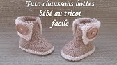 24421ae45ac00 TUTO CHAUSSON BOTTE BEBE AU TRICOT FACILE baby bootie knitting easy ...