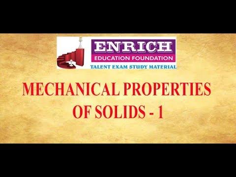 Tamil NEET Mechanical Properties of Solids Part  - 1