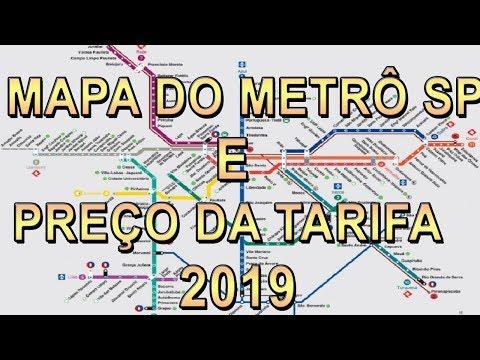 MAPA METRÔ SP 2019 E PREÇO DA TARIFA ATUALIZADA