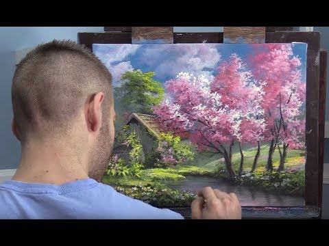 Pink Trees In Spring   Paint With Kevin®