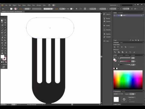 kitchen fork - adobe illustrator tutorial. Easy way to draw a fork.