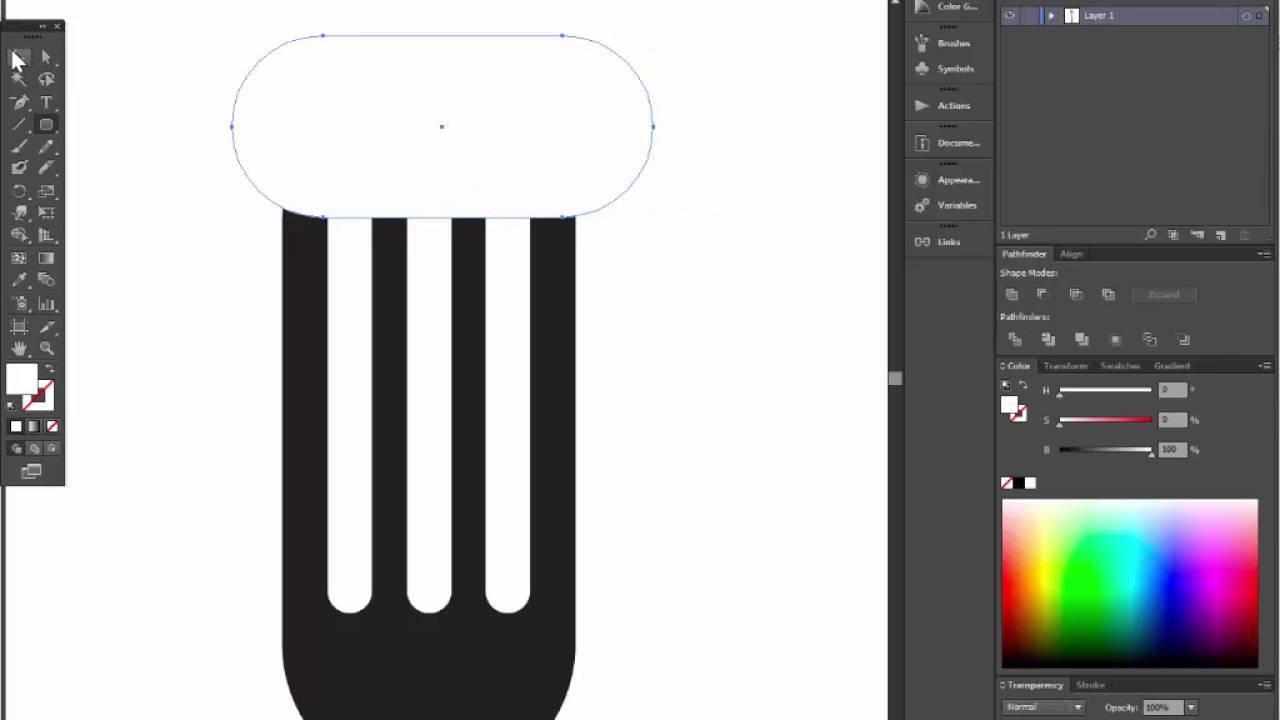 kitchen fork adobe illustrator tutorial easy way to draw a fork