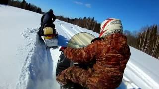 Поездка на снегоходах,с приключениями