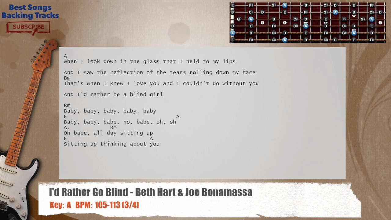 Id Rather Go Blind Beth Hart Joe Bonamassa Guitar Backing Track