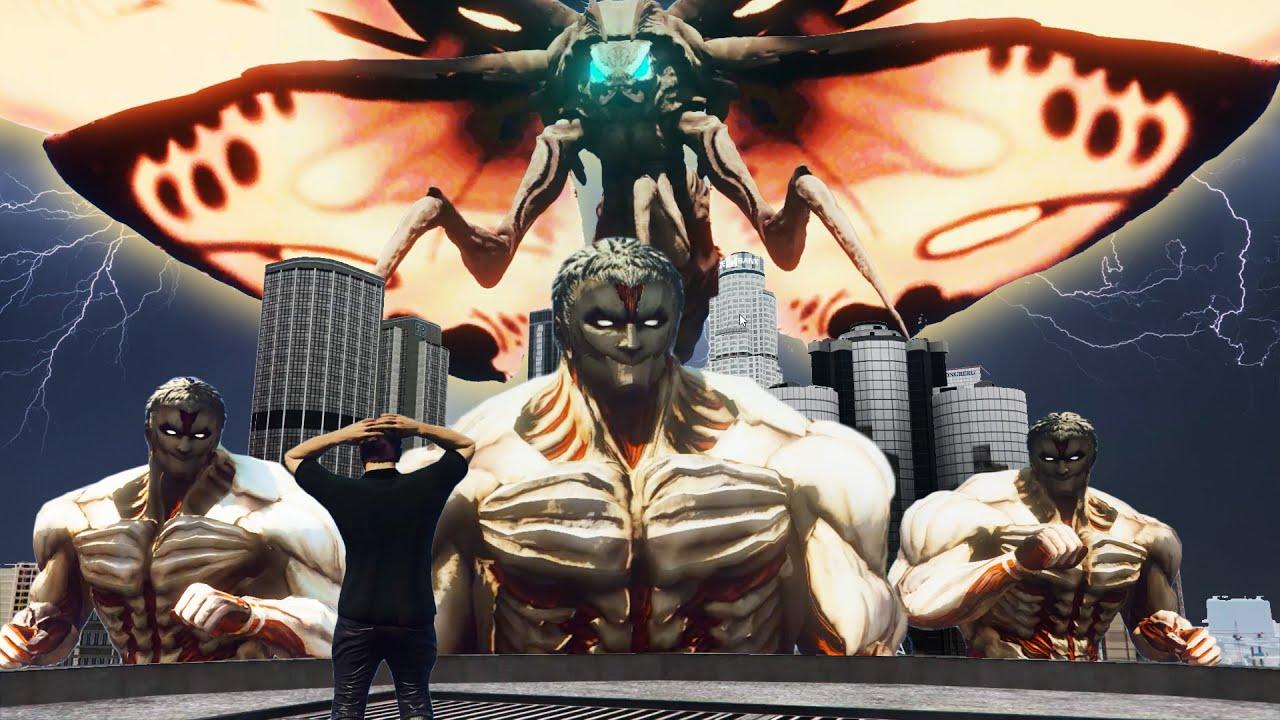 Download 【Officer Ck】GTA5 魔斯拉对抗铠之巨人!第一只所谓的怪獸诞生了!(太神奇)The Awaking of MOTHRA