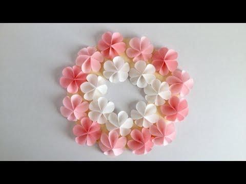 【折り紙・コピー用紙】簡単!かわいい花 ハッピーカラーのリース Easy Cute flower