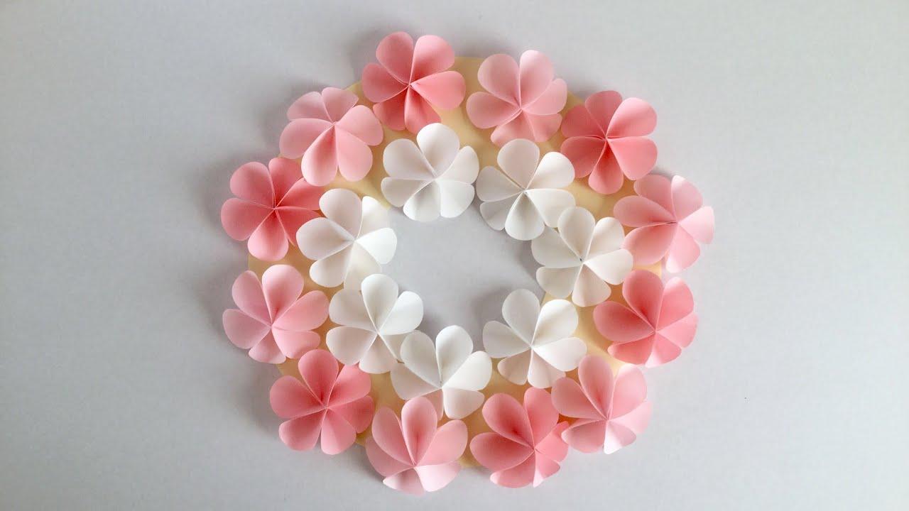 【折り紙・コピー用紙】簡単!かわいい花 ハッピーカラーのリース Easy Cute flower - ViYoutube