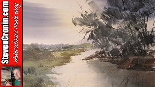 How to paint a simple river scene