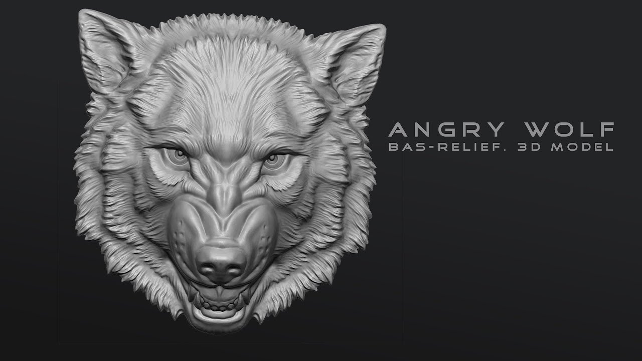 Angry wolf bas relief zbrush sculpting youtube