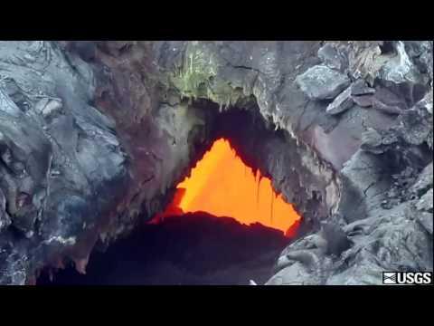 Molten Lava flows inside Hawaii