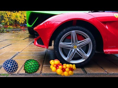 Antistress Ball under Wheels Car VS Mr. Joe on Ferrari F12 Berlinetta VS Red Man