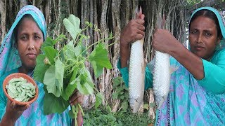 Village Food Law Shaker Jhol Recipe Farm Fresh Bean & Bottle Gourd Leaf With Mrigal Fish Cooking