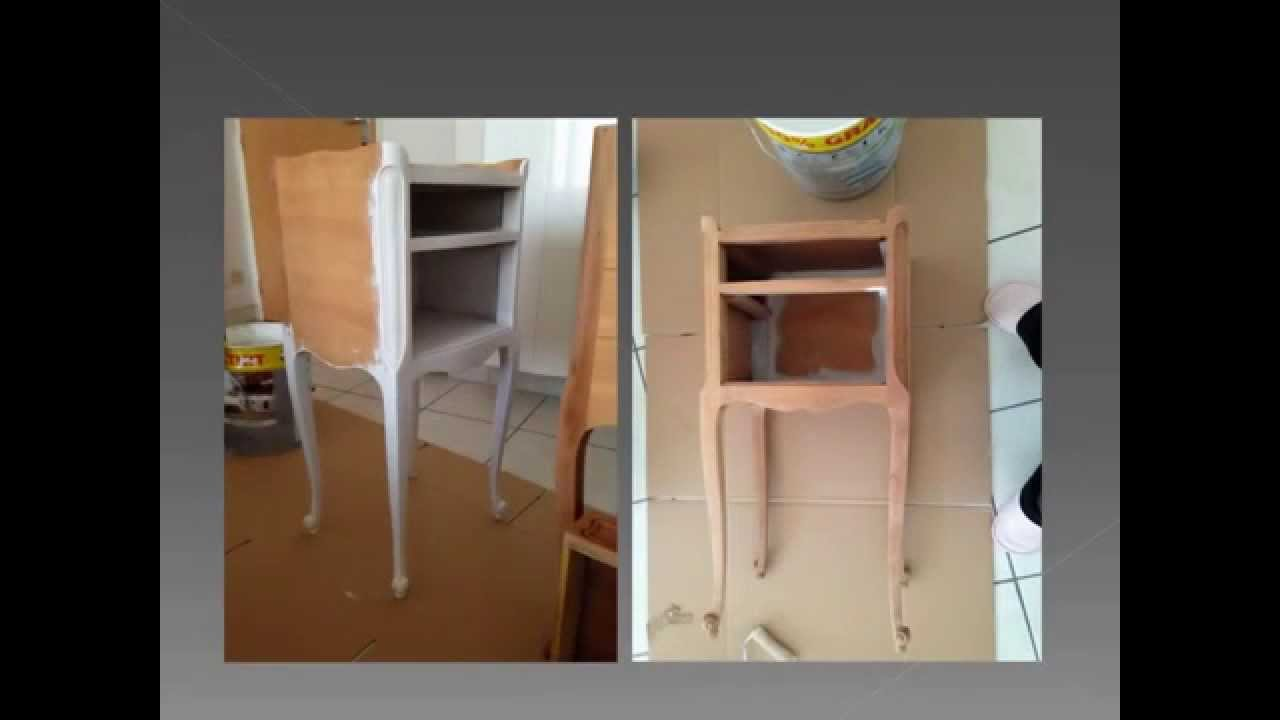 Relooker une table de chevet youtube - Transformer une table en bois ...