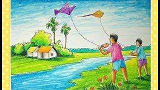 Kids Flying Kites Drawing