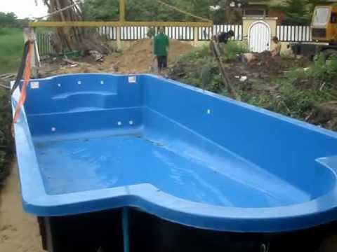 Bellagio fiberglass swimming pool installation udon thani for Fiberglass pool installation