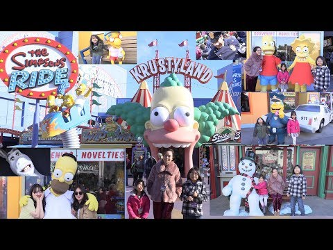 Family Trip to an Outdoor Amusement Theme Park! The Simpsons, The Transformers and More!