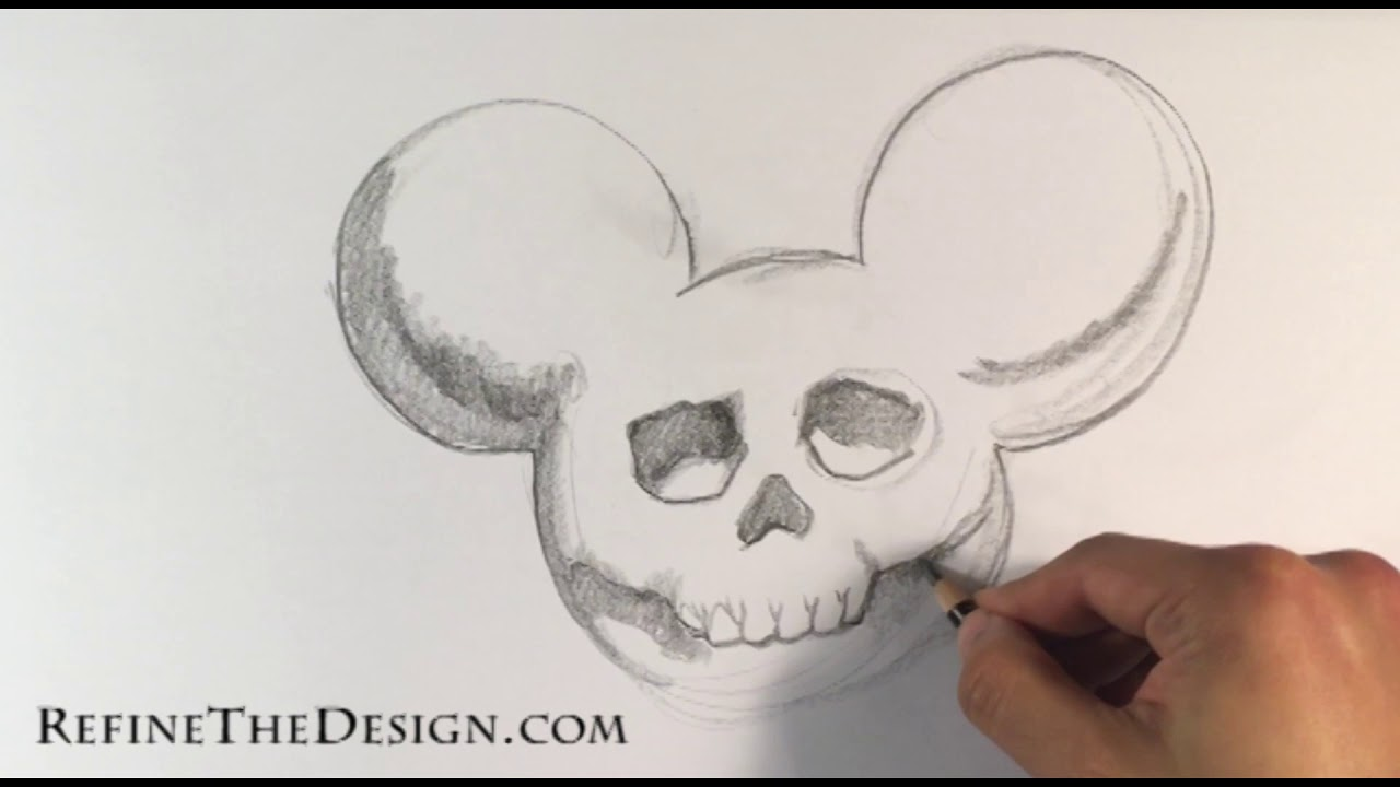 1f80c42cc9b3a How to Draw a Mickey Mouse Skull - Draw Tattoo Art - YouTube