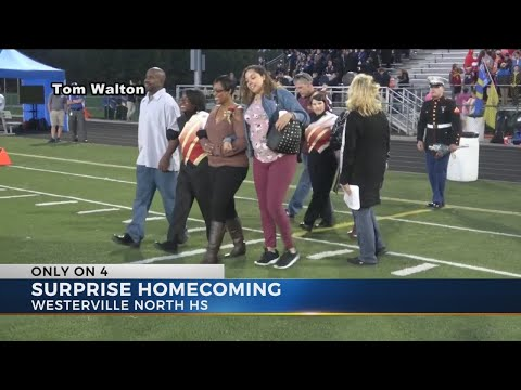 VIDEO: Marine surprises sister at Westerville North homecoming game