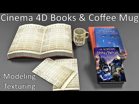 Cinema 4D | Papers, Books & coffee mug | Modeling & Texturin