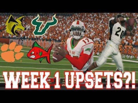 NCAA Football 14 - Teambuilder Dynasty Week 1 - MAJOR UPSETS IN WEEK 1!!!