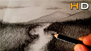 How to Draw a River and Landscape with Charcoal Step by Step - Timelapse