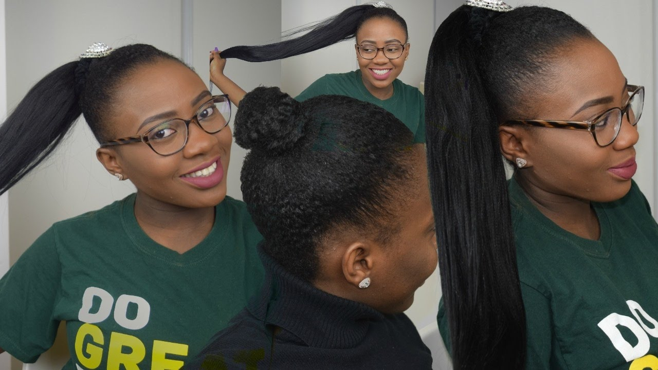 HAIR STYLE | HOW TO  PONYTAIL USING BRAIDING HAIR ON ...