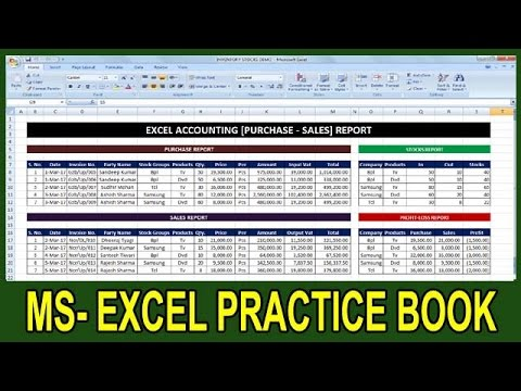 Exercise 40 | Excel Practice Book | How To Make Purchase Sales Stocks Report In Ms Excel