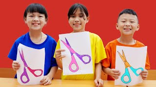 Learn Color SCISSORS ! Kids Drawing and Coloring Learning Tools  HCN Go School