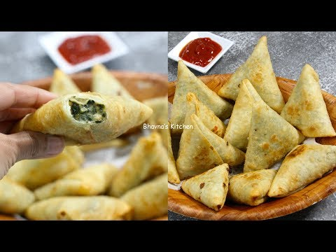 How to Make Cheesy Corn & Spinach Samosa Video Recipe | Bhavna's Kitchen