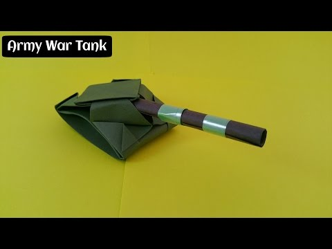 "How to make an easy  Paper ""Army war Tank / Panzer""   - Origami"