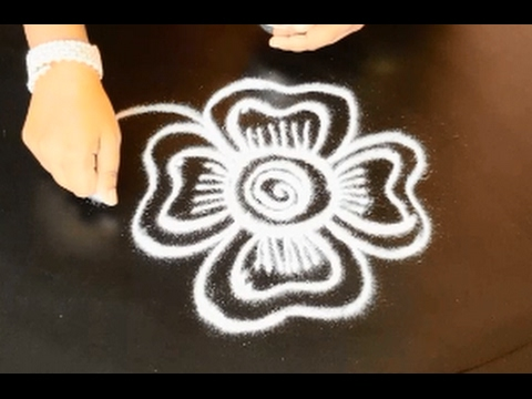 Flower muggulu designs with 4 dots/ pulli kolam/ poo kolam designs/ easy rangoli