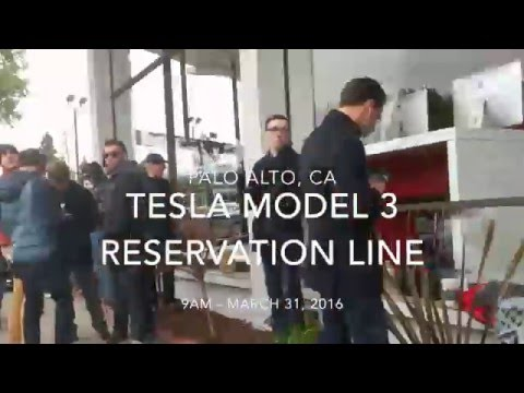 Tesla Model 3 Reservation Line At Palo Alto, CA