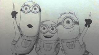 Drawing the best Minions 2015 Official trailer new movie / How to draw Minions