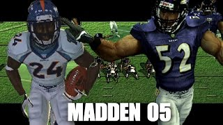RAY LEWIS HIT STICKING EVERYONE - MADDEN 05 GAMEPLAY - RAVENS VS BRONCOS