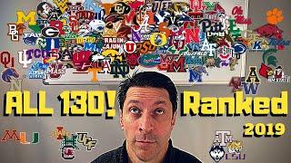 FINAL 2019 College Football Rankings 1-130