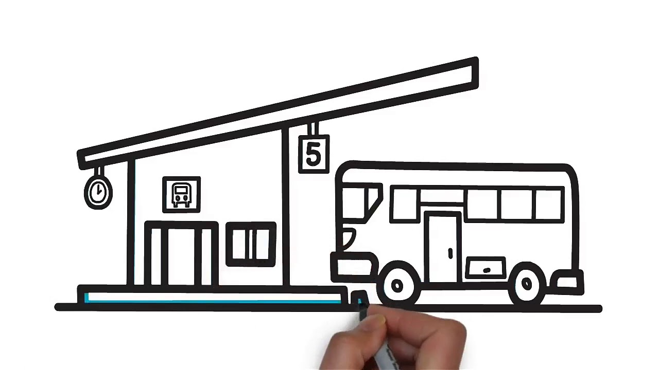 How To Draw A Bus Stop Step By Step Easy Drawing For Kids Youtube