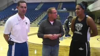 IPFW basketball coach Chris Paul and forward Keanna Gary