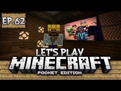 Survival Let's Play Ep. 62 - REDSTONE MOVIE THEATER!!! - Minecraft PE (Pocket Edition)