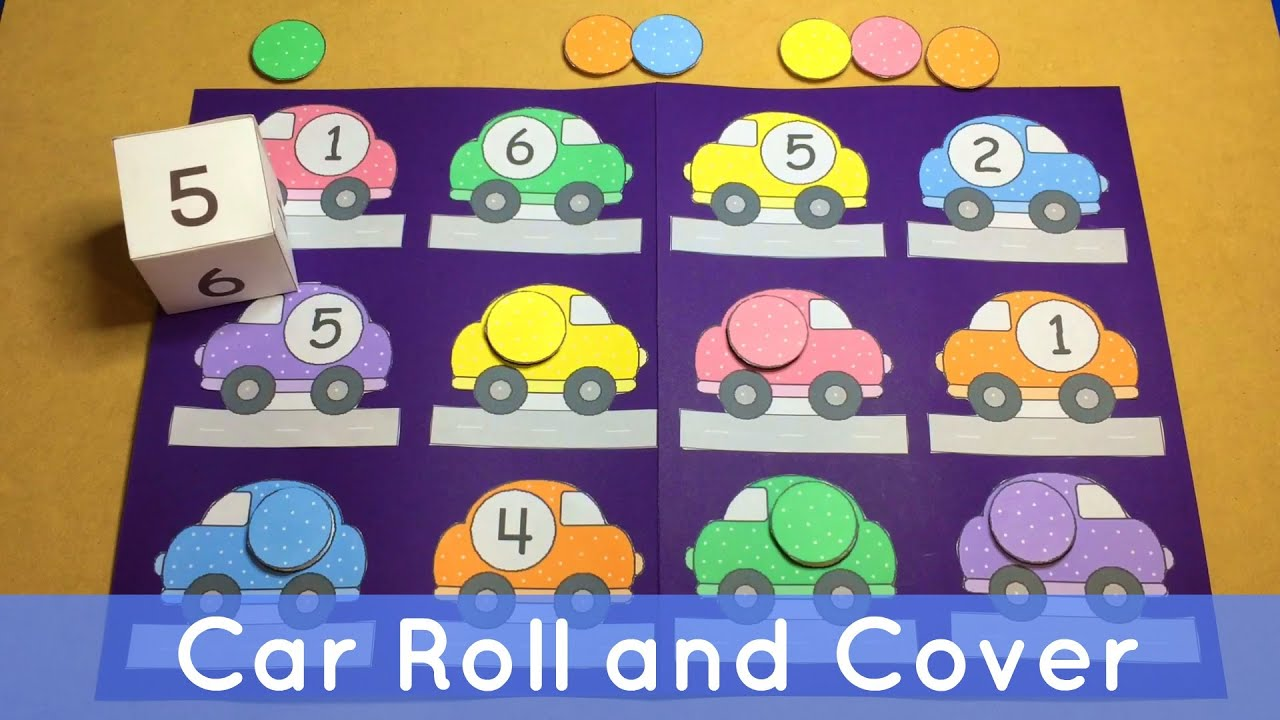 car roll and cover preschool file folder game for math centers