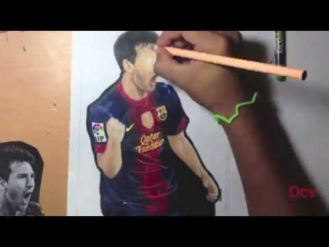 Dibujo de Messi celebrando su segundo gol al Real Madrid