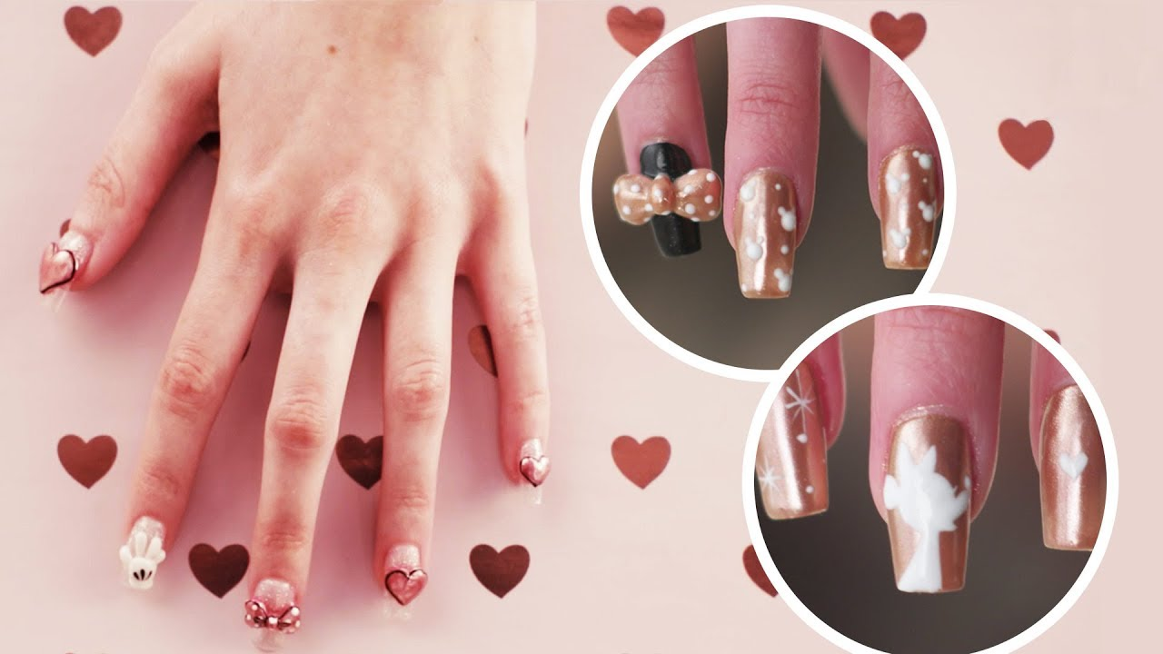Rose Gold Minnie Nail Art 3 Ways Tips By Disney Style