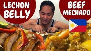 LECHON BELLY!!! BEEF MECHADO!!! Filipino Food! Pinoy Mukbang!