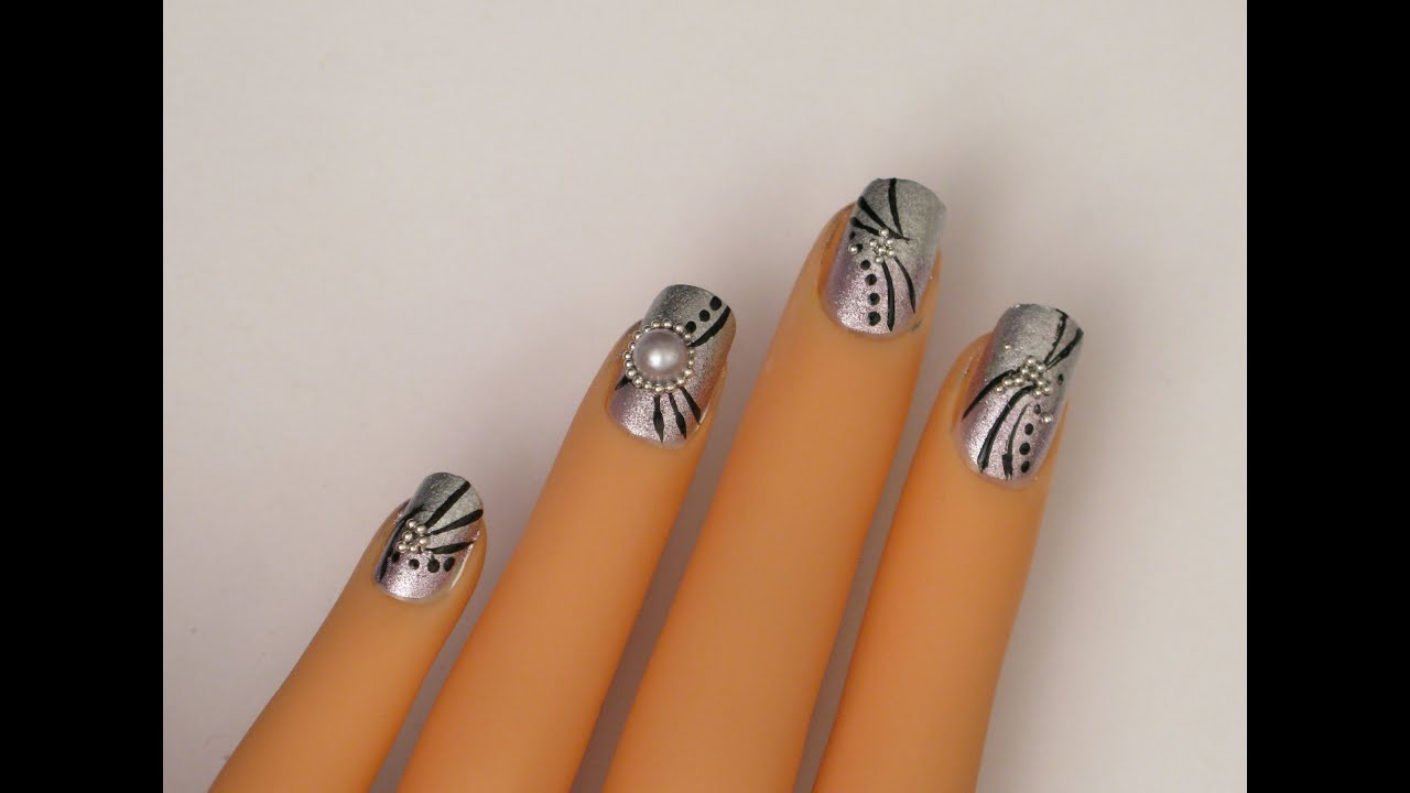 Purple silver abstract nail art tutorial youtube prinsesfo Gallery