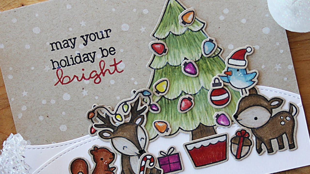 How to make a Christmas card with colored pencils - YouTube