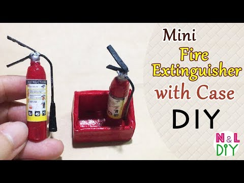 DIY Miniature Fire Extinguisher with Case | How to make Mini Fire Extinguisher & Case for Dollhouse