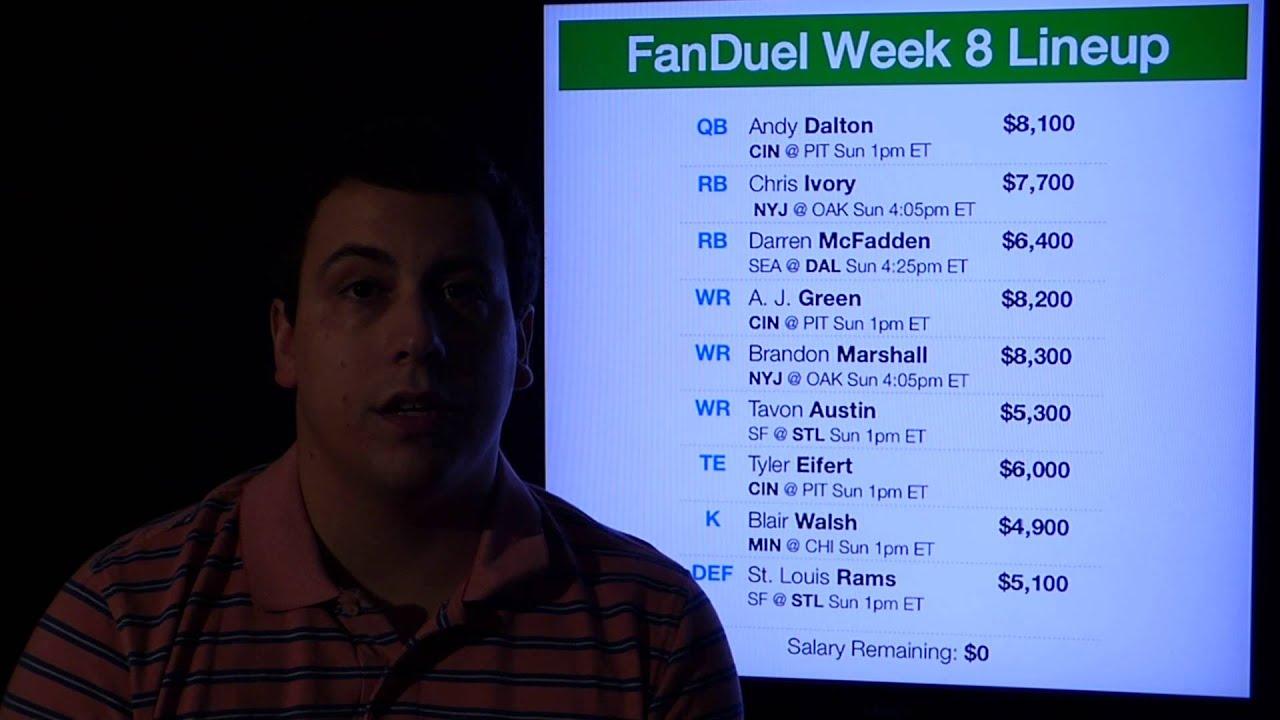 FanDuel NFL Week 8 Lineup Advice, Picks, etc. - YouTube