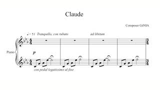 GéNIA - 'Claude' for Solo Piano with the Music Score - Single Release - Peaceful Piano Music